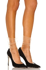 Pan & The Dream Super Fine Swarovski Tulle Socks in Beige & Jet Crystals