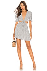 Privacy Please Castana Mini Dress in Grey Stripe