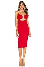 Privacy Please Sterling Midi Dress in Watermelon Red
