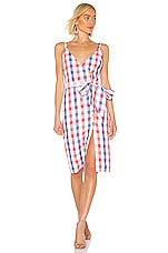 Privacy Please Marcia Midi Dress in Red & Blue Plaid