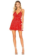 Privacy Please Octavia Mini Dress in Red & Ivory
