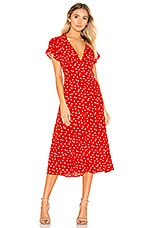 Privacy Please Cruz Midi Dress in Red & Ivory