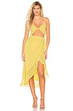 Privacy Please Soleil Midi Dress in Key Lime Yellow