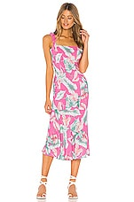 Privacy Please Celine Midi Dress in Pink Tropical Floral