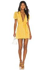 Privacy Please Carlotta Mini Dress in Yellow & White Dot