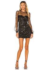 Privacy Please Bella Mini Dress in Black & Gold