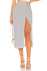 Privacy Please Johnson Midi Skirt in Grey Stripe