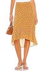 Privacy Please Carina Midi Skirt in Gold Rebecca Floral