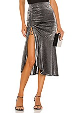 Privacy Please Lina Midi Skirt in Metallic Silver