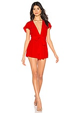 Privacy Please Goodwin Romper in Red Orange