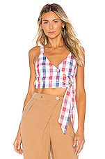 Privacy Please Kasandra Top in Red & Blue Plaid
