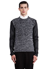 Contrast Sleeve Pullover in Black/ Grey