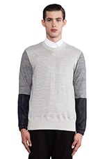 Light Weight Sweatshirt in Heather Grey/ Black