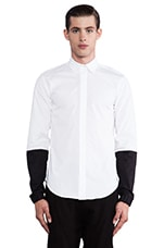 Contrast Sleeve Button Down in White/ Black