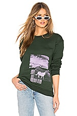 Paradised Escape Plan Crew Neck Sweatshirt in Forest Green & Lilac