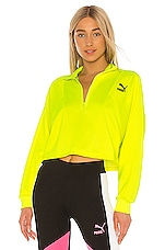 Puma TFS Cropped Half Zip Sweatshirt in Yellow Alert Multi