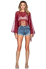 Lace Fringed Beach Top en Bordeaux