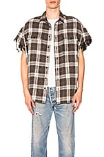 R13 Oversized Cut-Off Shirt in Black & White Plaid
