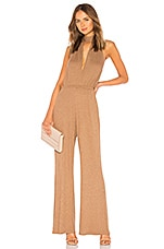Rachel Pally Metallic Rib Charlie Sweater Jumpsuit in Caramel & Gold