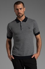 Knitted Jacquard Fred Perry Shirt Polo en Marine