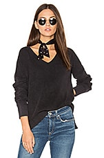 Taylor Washed V Neck Sweater in Black