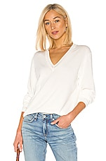 Rag & Bone Kento V Neck Sweater in White