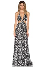 Blackbird Cutout Maxi Dress in Black & White