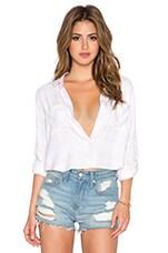 Rian Crop Button Down Top in White & Blush