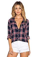Hunter Button Down in Navy & Red