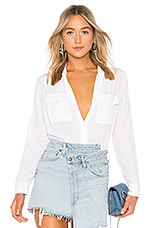 Rails Rhett Silk Button Down Blouse in White