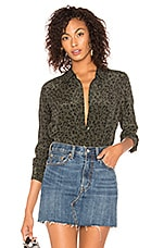 Rails Kate Silk Button Down Blouse in Olive Cheetah