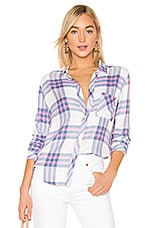Rails Hunter Button Down Top in White Sky Pink