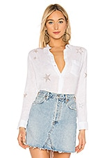 Rails Charli Button Down Top in White Rose Gold Star Embroidery