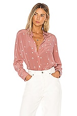 Rails Kate Silk Blouse in Mauve Lucky Horseshoes