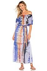 Raquel Allegra Silk Ruffle Maxi Dress in Waterfall Rainbow Tie Dye