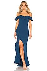 Rebecca Vallance Aegean Off Shoulder Gown in Blue