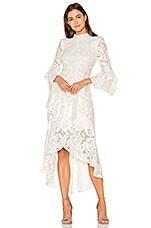 Rebecca Vallance The Society Frill Midi Dress in Ivory