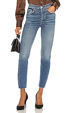 RE/DONE High Rise Ankle Crop in Aged Blue