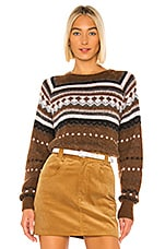 RE/DONE 50s Raglan Crew Sweater in Brown
