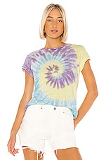 RE/DONE Classic Tee in Purple & Blue & Yellow Spiral Tie Dye