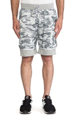 Camo Print Hybrid Short in Heather Grey