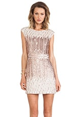 Embellished Cap Sleeve Dress in Ivory & Rosegold