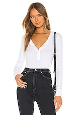 Rag & Bone The Rib Henley Top in White