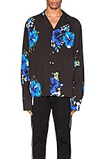 Rhude Hawaiian Long Sleeve Shirt in Black & Blue