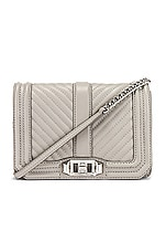 Rebecca Minkoff Chevron Quilted Small Love Crossbody in Perla