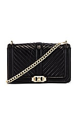 Rebecca Minkoff Chevron Quilted Love Crossbody Bag in Black