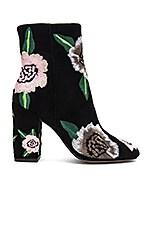 Rebecca Minkoff Bryce Embroidered Bootie in Black & Floral Kid Suede