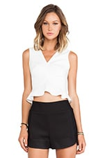 Flounced Crop Top in Off White