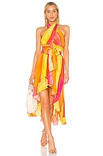 ROCOCO SAND Universe Printed Concept Dress in Yellow & Coral