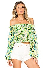 ROCOCO SAND Romantic Floral Top in Green